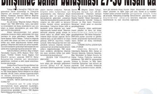 Bilişimde Bahar Buluşması 27-30 Nisan'da – Antalya Ekonomi Gazetesi
