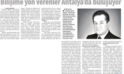 Bilişime Yön Verenler Antalya'da Buluşuyor – Ticaret Gazetesi (İzmir)