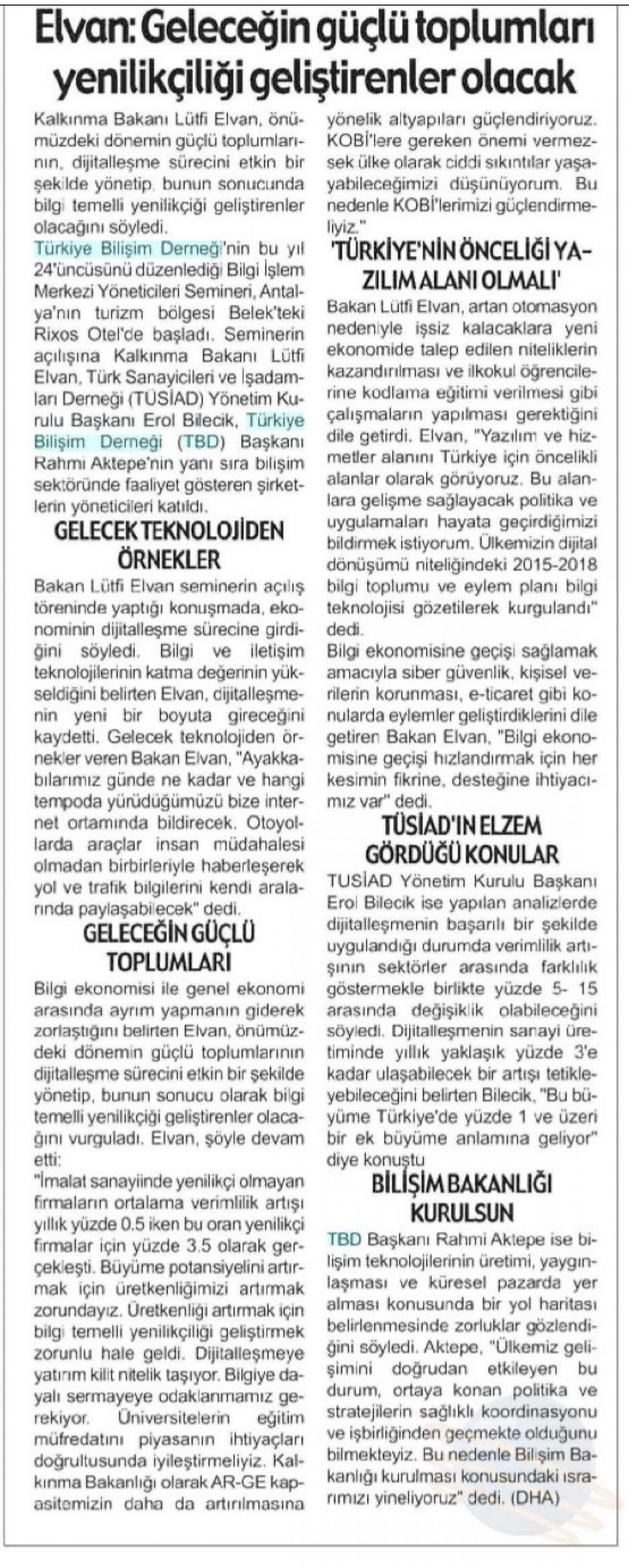 ELVAN : Geleceğin Güçlü Toplumları Yenilikçiliği Geliştirenler Olacak – Antalya Hilal