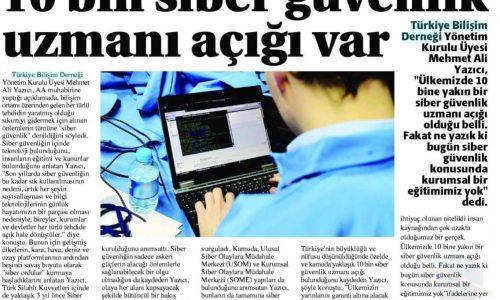 10 Bin Siber Güvenlik Uzmanı Açığı Var – Yeni Konya