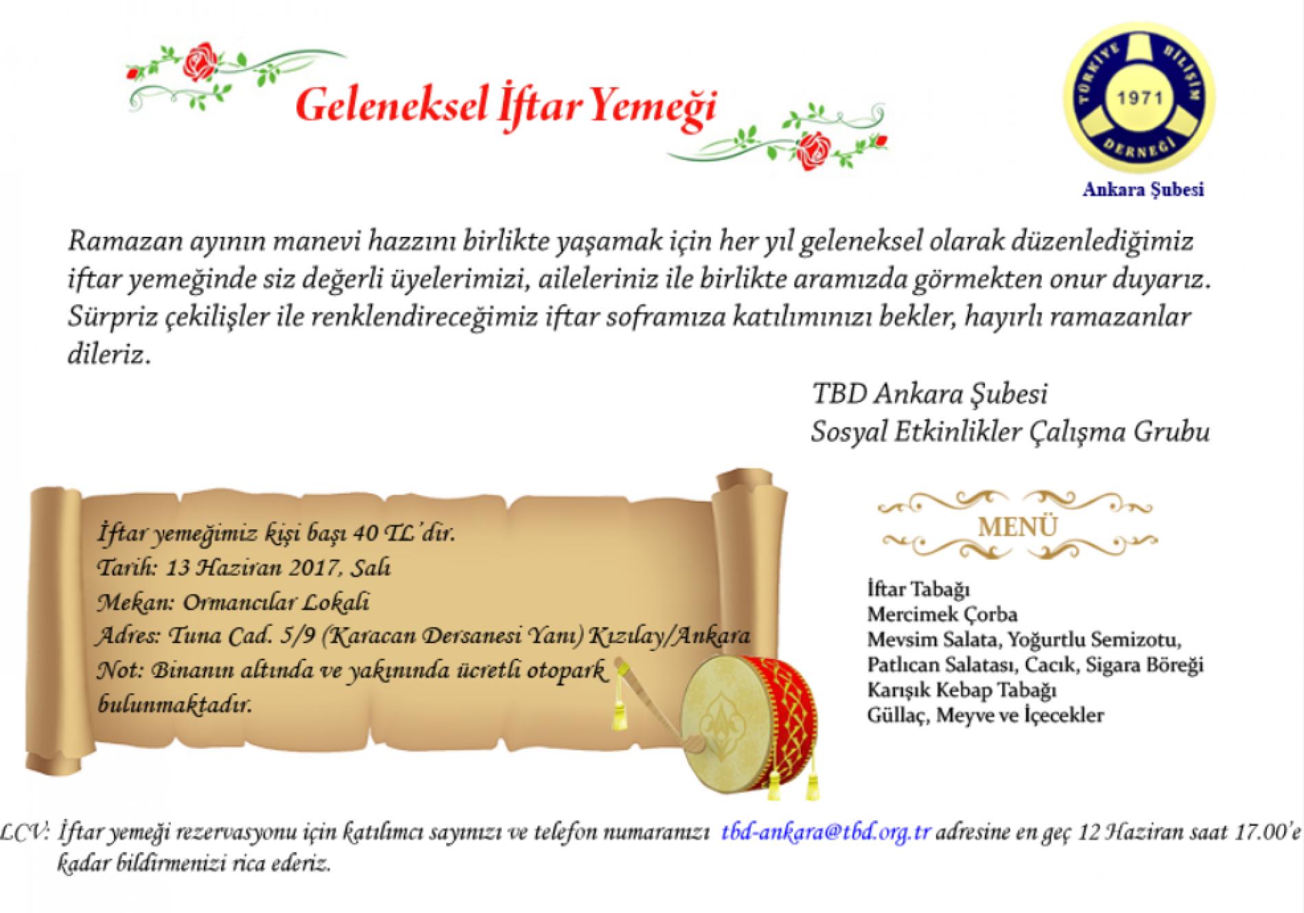 TBD Ankara Şubesi Geleneksel İftar Yemeği