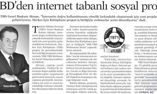 TBD'den İnternet Tabanlı Sosyal Proje