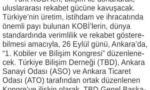 1. Kobiler ve Bilişim Kongresi, 26 Eylül'de Ankara'da – ANKARA 24 SAAT