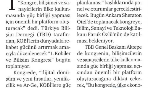 KOBİ'ler ve Bilişim Kongresi Bugün Ankara'da Toplanıyor – HÜRSES