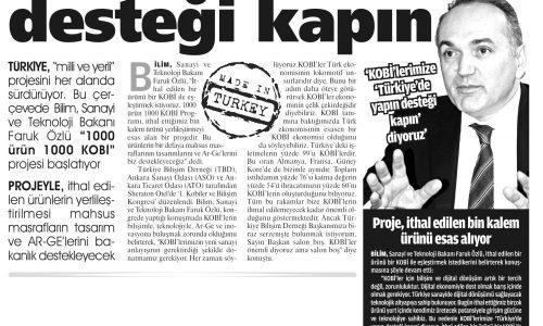 Türkiye'de Yapın Desteği Kapın – MİLAT