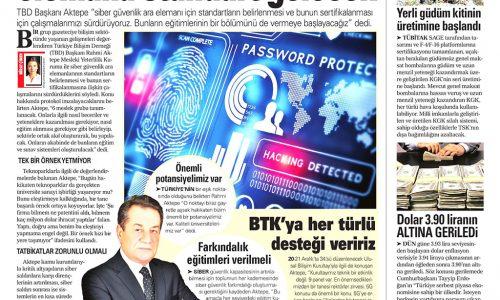 Siber Güvenlikte Ara Elemana Standart Gelecek – AKŞAM GAZETESİ