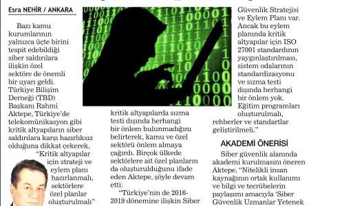 Kritik Altyapılar İçin Siber Eylem Planı Yok – HABERTÜRK