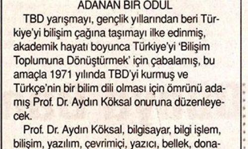 """""""Bilişimin Babası"""" Adına Özel Ödül – TÜNAYDIN GAZETESİ"""