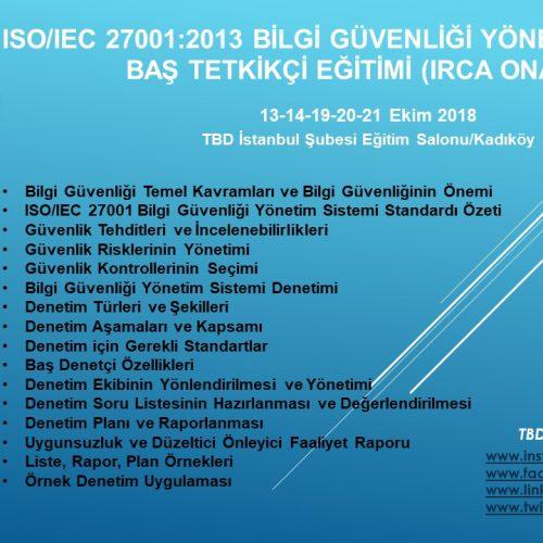 ISO/IEC 27001:2013 BİLGİ GÜVENLİĞİ YÖNETİM SİSTEMİ BAŞ TETKİKÇİ EĞİTİMİ (IRCA ONAYLI)