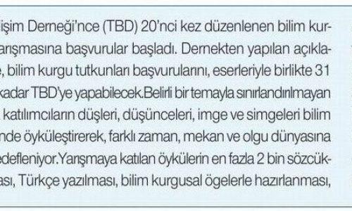 """""""TBD Bilim Kurgu Öykü Yarışması""""na Başvurular Başladı – HÜRSES GAZETESİ"""