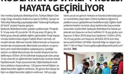 """İpekyolu'nda """"Geleceği Kodlayan 65 Vanlı"""" Projesi Hayata Geçiyor – OLAY GAZETESİ"""