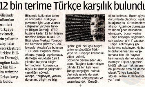 12 Bin Terime Türkçe Karşılık Bulundu – KARTAL GAZETESİ