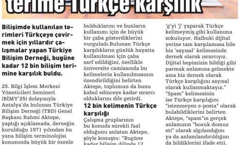 Bilişimde 12 Bin Terime Türkçe Karşılık – HABERDE DENGE