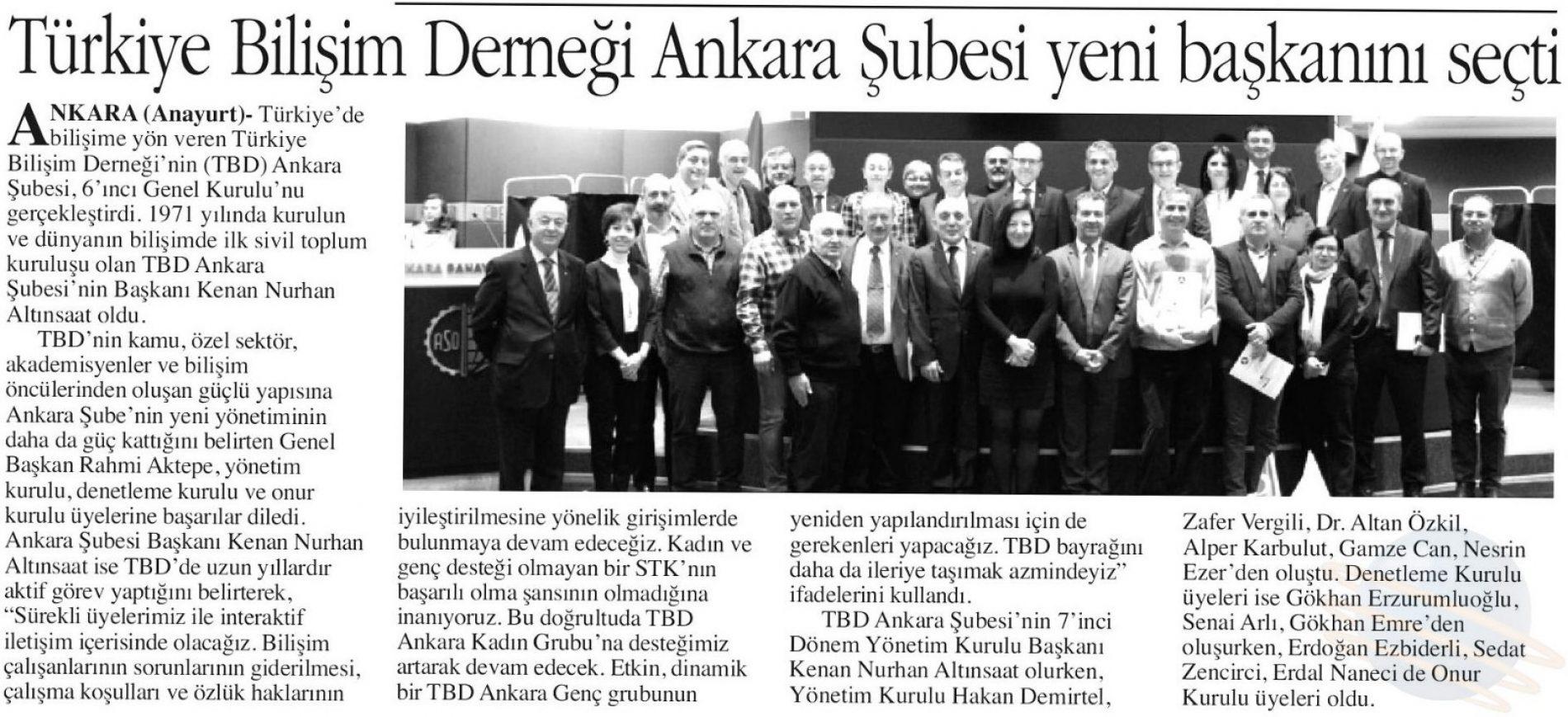 TBD Ankara Şubesi 6. Olağan Genel Kurul Basın Yansımaları