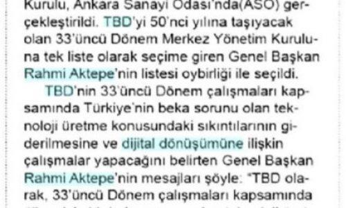Türkiye Bilişim Derneği Genel Başkanı Rahmi AKTEPE Güven Tazeledi – ZAFER