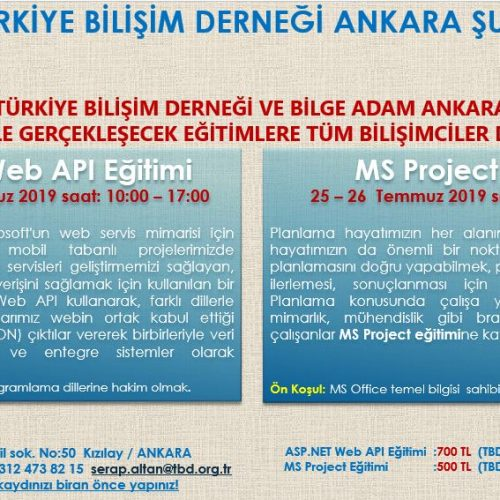 Türkiye Bilişim Derneği ve Bilge Adam Ankara İşbirliği ile Gerçekleşecek Eğitimlerimize Kayıtlarınızı Bekliyoruz!