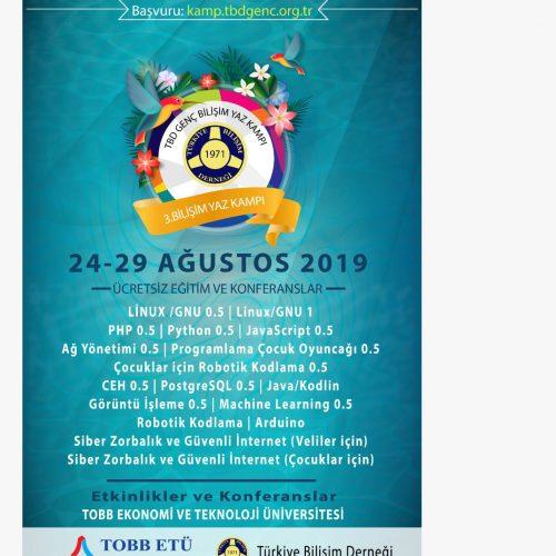TBD 3. Bilişim Yaz Kampı 24-29 Ağustos 2019 tarihlerinde TOBB Teknolojive Ekonomi Üniversitesinde başlıyor!
