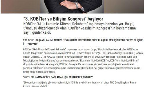 """""""3. KOBİ'ler ve Bilişim Kongresi"""" Başlıyor – ANADOLU GAZETESİ"""
