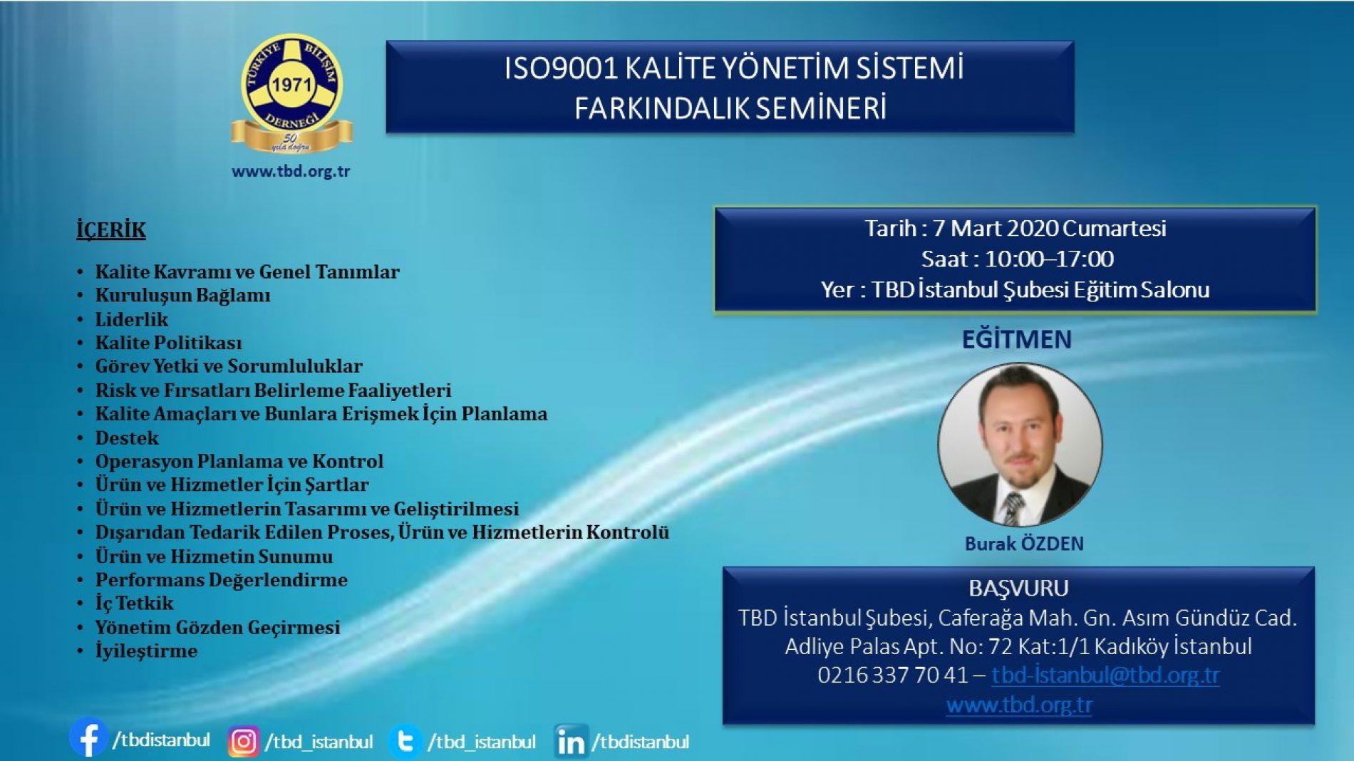 ISO9001 KALİTE YÖNETİM SİSTEMİ FARKINDALIK SEMİNERİ