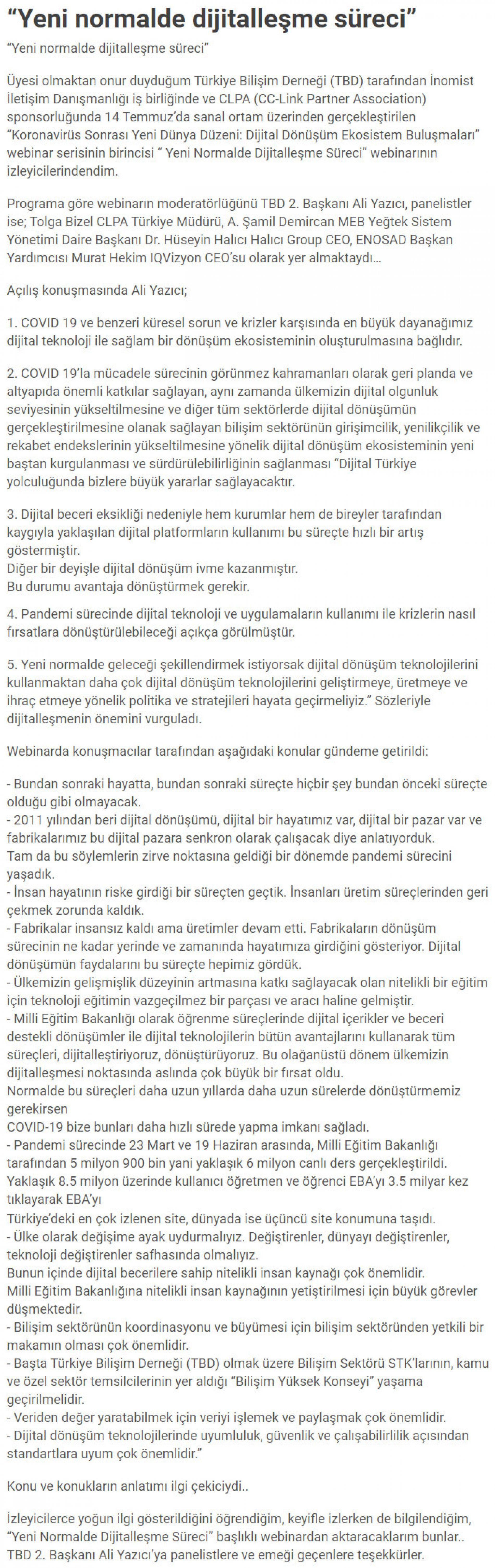 """""""Yeni Normalde Dijitalleşme Süreci"""" – DÜNYA"""