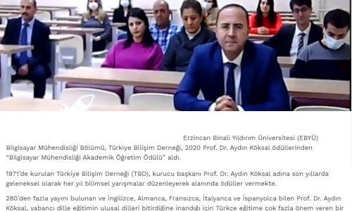 Türkiye Bilişim Derneğinden Bilgisayar Mühendisliği Bölümüne Ödül – TOKATTAN