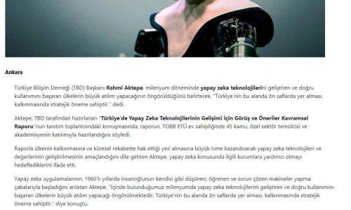 Türkiye'nin Yapay Zeka Alanında Ön Saflarda Yer Alması, Kalkınmasında Stratejik Öneme Sahip – ANADOLU AJANSI