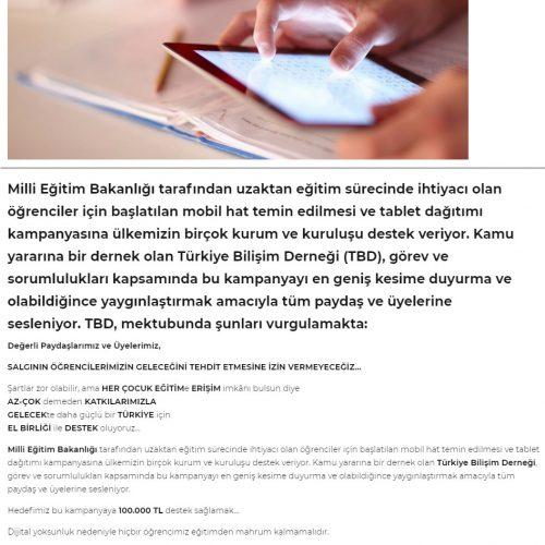 TBD'den MEB'in tablet dağıtımı kampanyası için çağrı! – BT Haber
