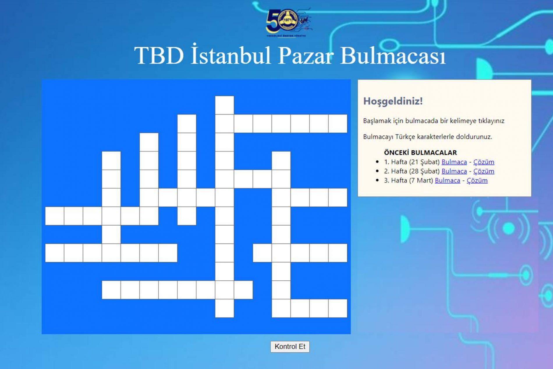 TBD İstanbul 14 Mart Pazar Bulmacası