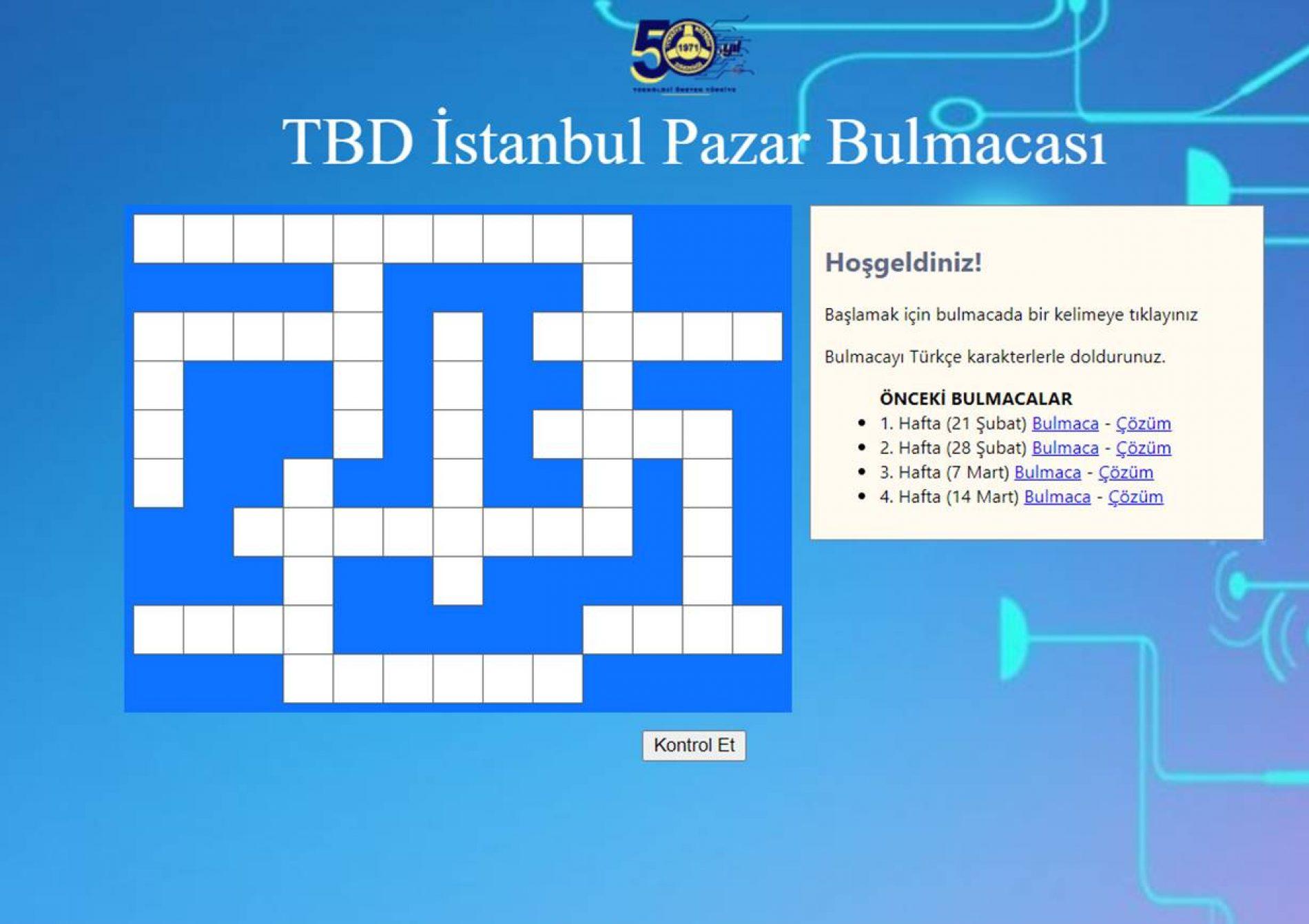 TBD İstanbul 21 Mart Pazar Bulmacası