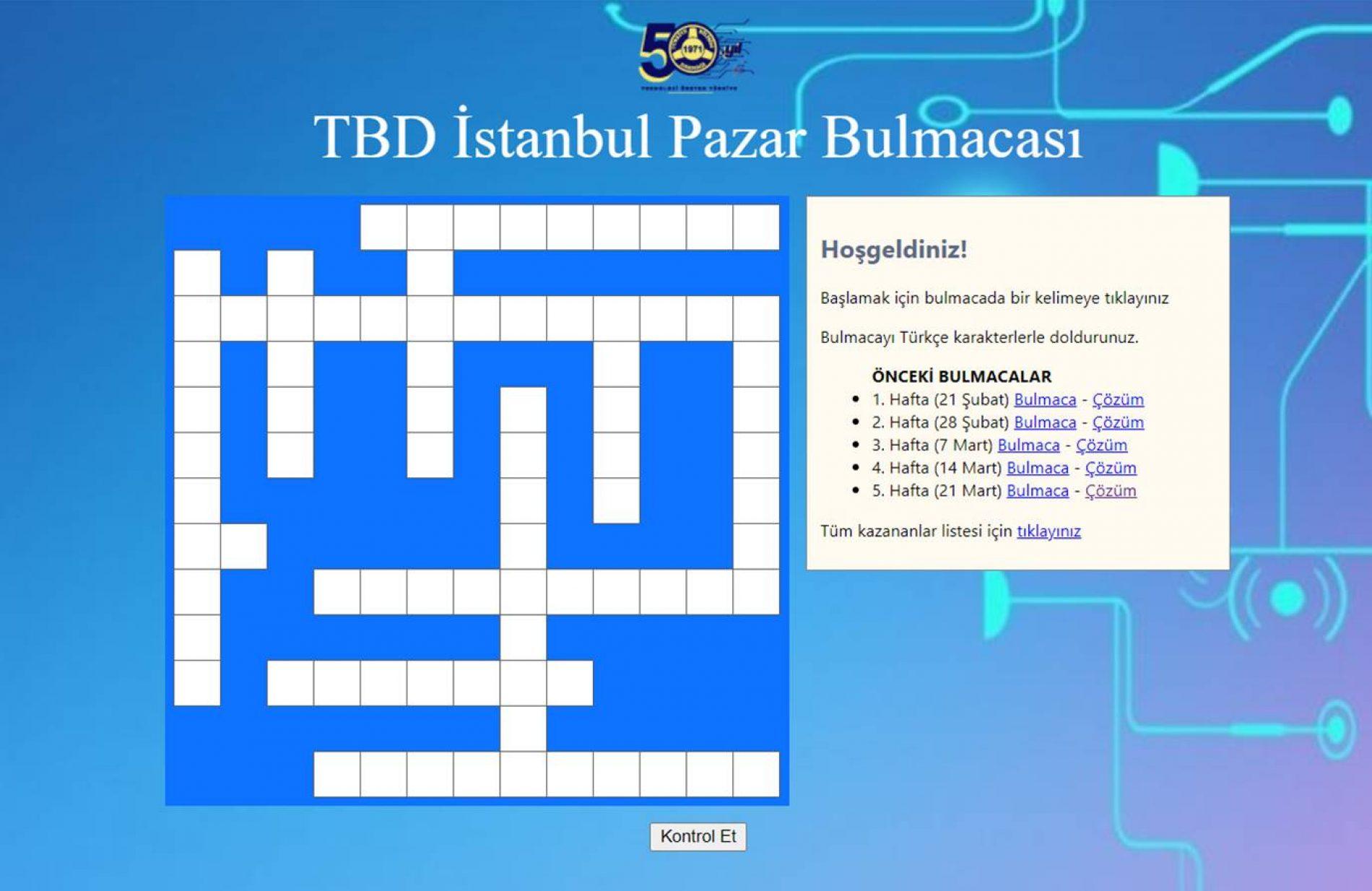TBD İstanbul 28 Mart Pazar Bulmacası