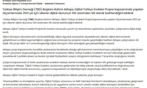 """Türkiye Bilişim Derneği Başkanı Aktepe: """"2021 yılı için Dijital Türkiye'nin skoru 100 üzerinden 68"""" – HABERLER"""