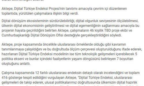 """Türkiye Bilişim Derneği Başkanı Aktepe: """"2021 yılı için Dijital Türkiye'nin skoru 100 üzerinden 68"""" – SON DAKİKA"""