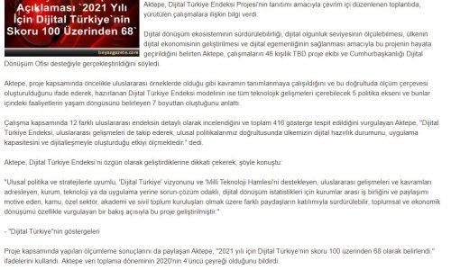 Türkiye Bilişim Derneği Başkanı Aktepe Açıklaması '2021 Yılı İçin Dijital Türkiye'nin Skoru 100 Üzerinden 68' – BEYAZ GAZETE