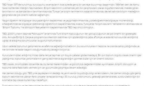 Türkiye Bilişim Derneği Genel Başkanı Rahmi Aktepe'nin 50. Yıl Bildirisi – BT HABER