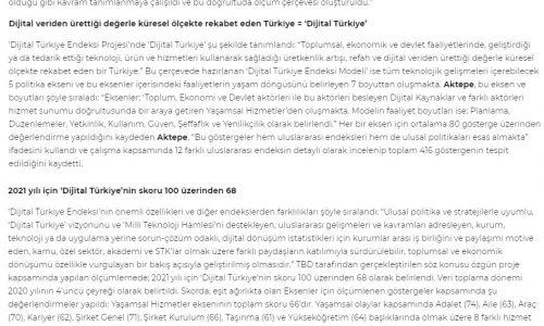'Dijital Türkiye Endeksi Projesi' Hayata Geçirildi – BT HABER