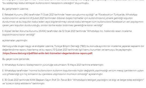 """Türkiye Bilişim Derneği Genel Başkanı Rahmi AKTEPE'nin """"WhatsApp Hizmet Sözleşmesi Değişikliği Hakkında"""" – BT HABER"""